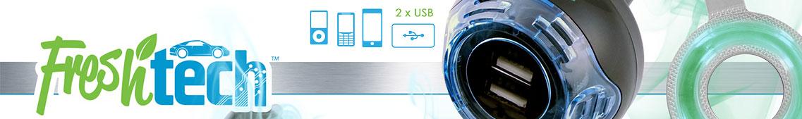 Freschtech, USB Ladegerät mit Lufterfrischer für Auto
