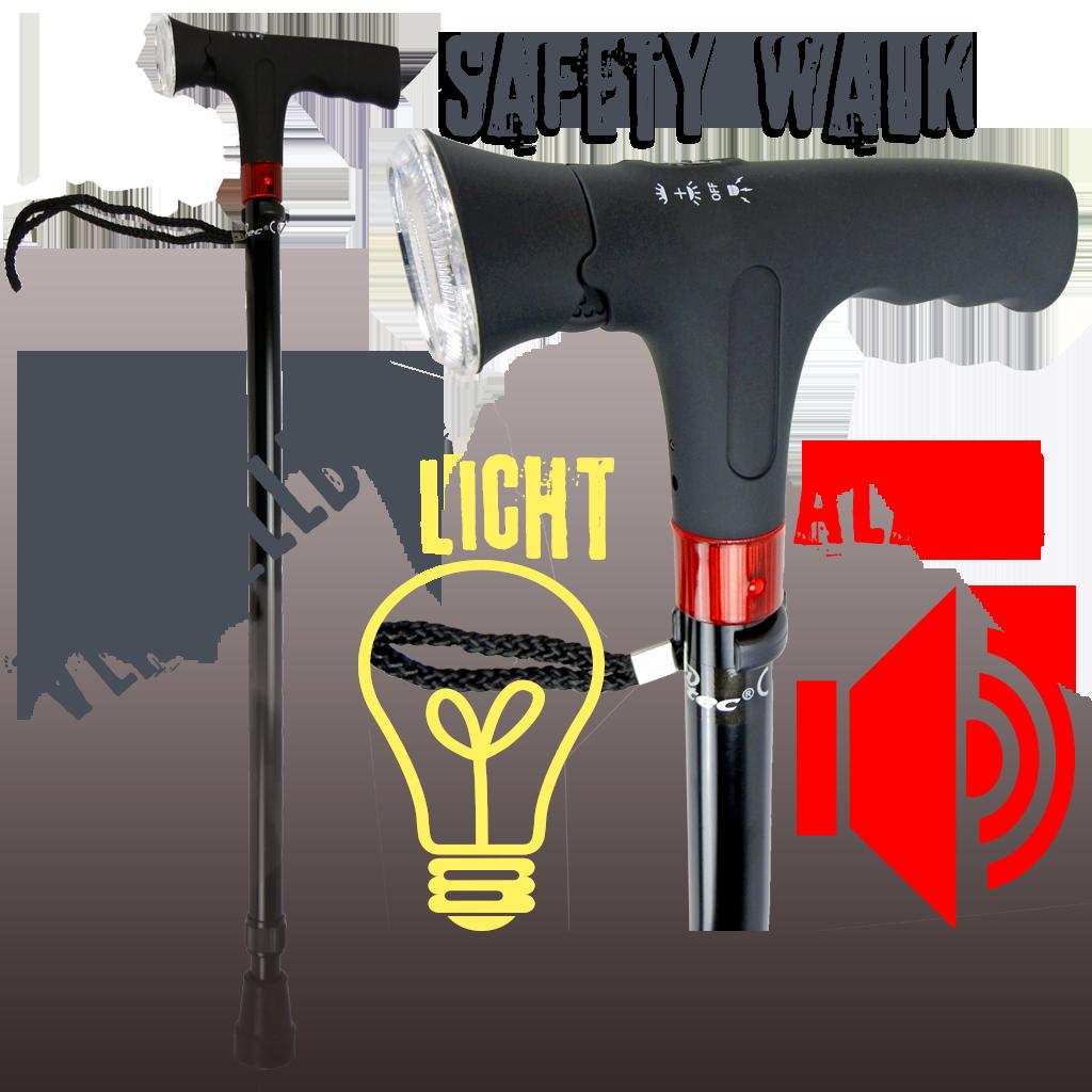 SafetyWalk, Gehstock, Wanderstock, höchenverstellbar mit Licht und Alarm Signal