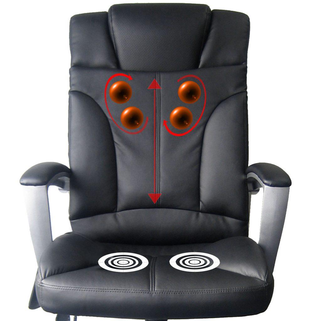 Shiatsu Chefsessel, Bürostuhl mit Rollenmassage und Infrarotwärme