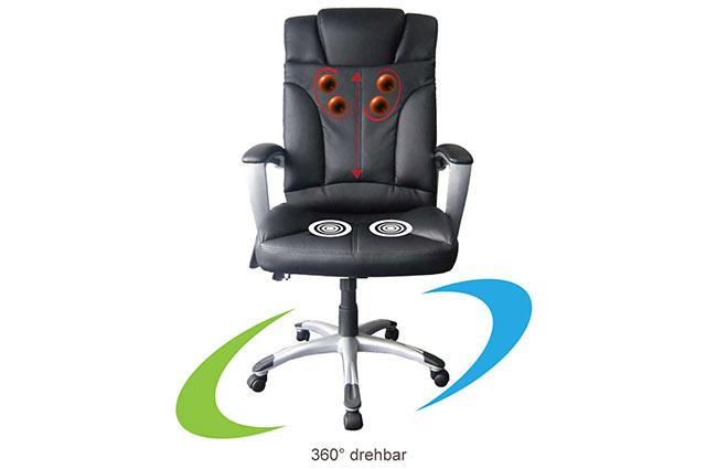 Tiga - Chefsessel mit Shiatsumassage, Bürostuhl, Schreibtischstuhl - 360 Grad freidrehbar