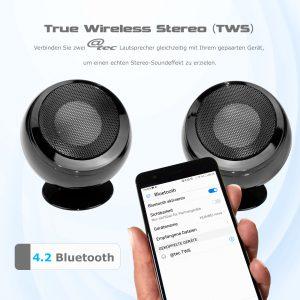 @tec TWS Bluetooth Stereo Lautsprecher, True Wireless Speaker Set von arcotec