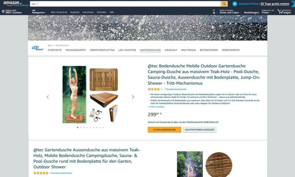 @tec Markenwelt bei Amazon, Bodendusche-Gartendusche, Screenshop