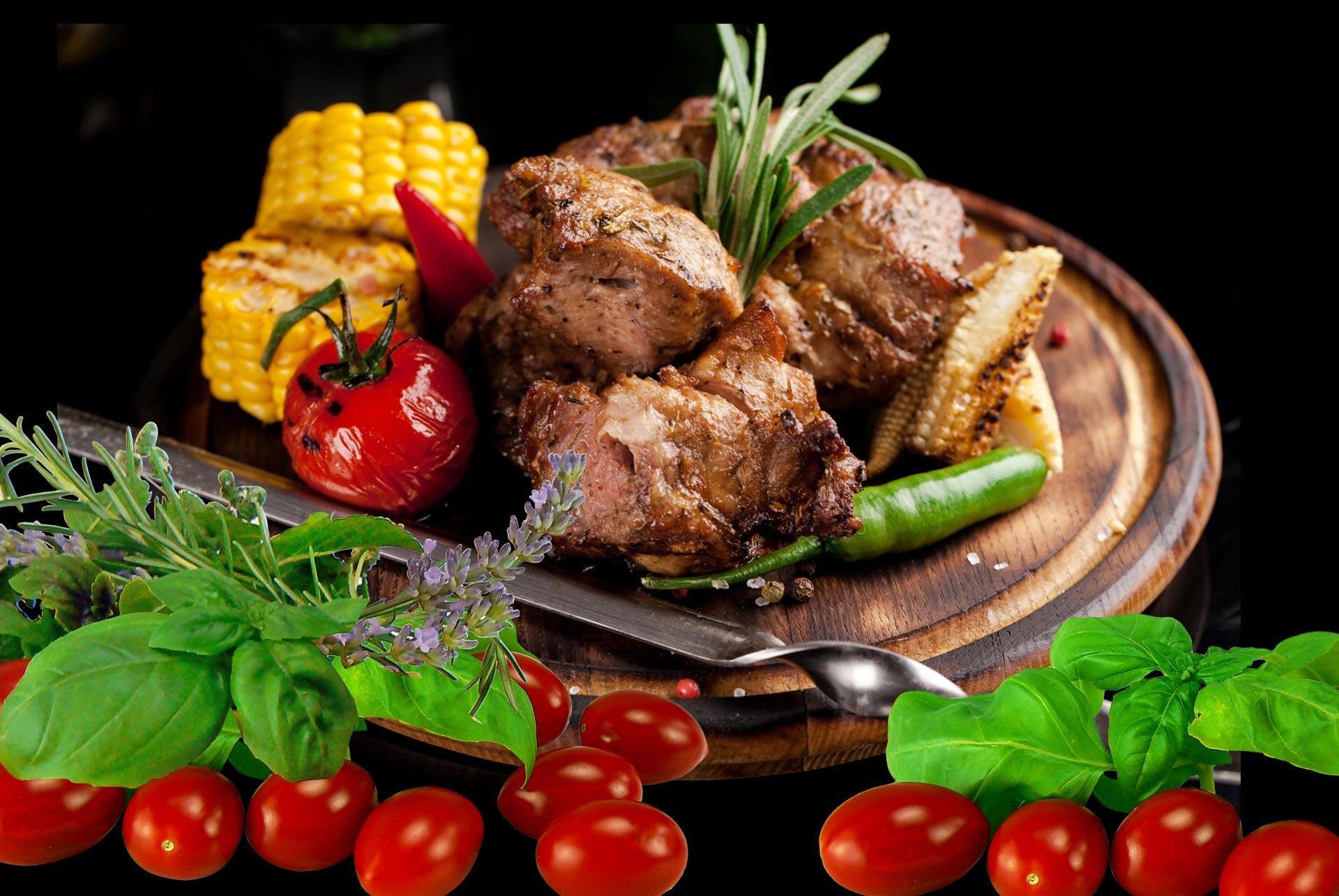 Gegrillte Fleisch und Gemüse, Tischgrill von arcotec